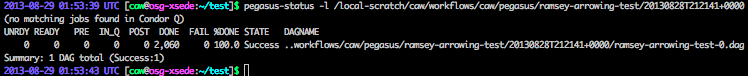 Sample output from pegasus-status.